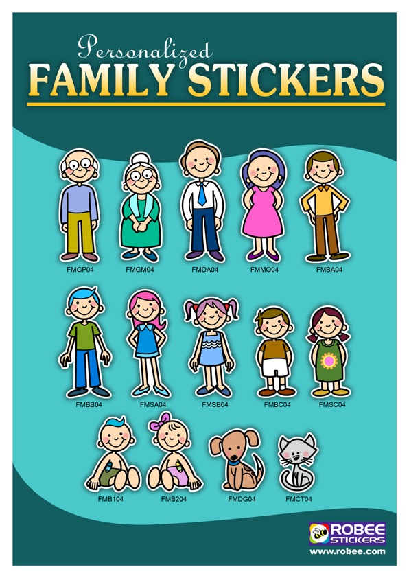 robee stickers personalized family stickers